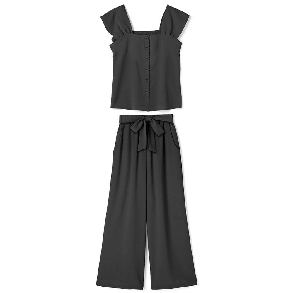 日本 GRL - 大蝴蝶結綁帶素色襯衫X寬褲套裝-帥氣黑 (Free)