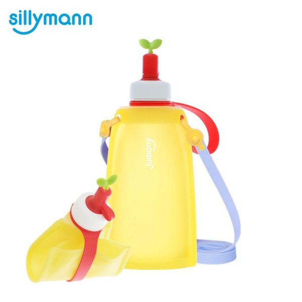 韓國 sillymann - 100%兒童便攜捲式鉑金矽膠水瓶-檸檬黃-300ml
