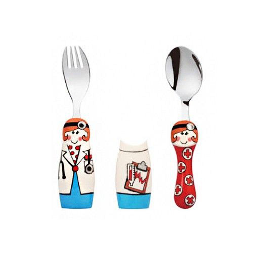 EAT4FUN - 316不鏽鋼餐具DUO兩人組-女孩醫生-一叉+一匙