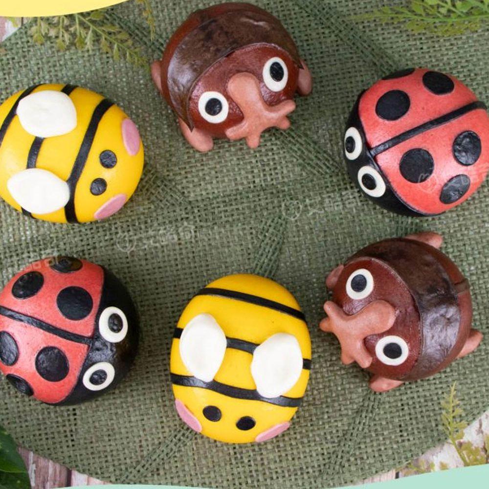 艾酷奇 - 森友會系列 昆蟲篇 昆蟲王國組 造型包子 (6入)-甲蟲包子(芝麻花生)X2、蜜蜂包子(奶皇)X2、紅瓢蟲包子(花生)X2 (390公克±3%)-團購專案