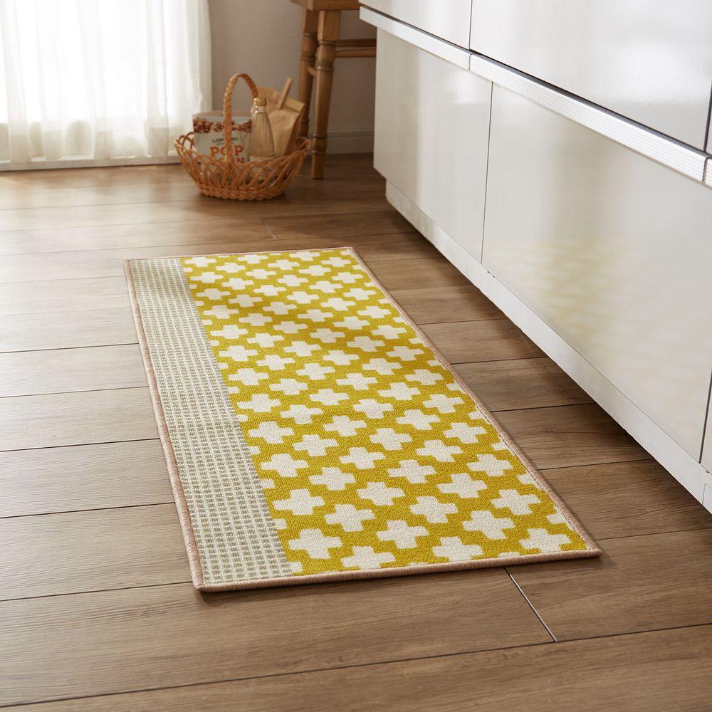 日本千趣會 - 北歐風 長條型腳踏墊(廚房/臥室)-十字紋-黃