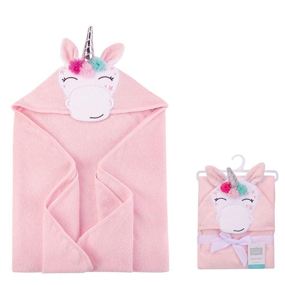 美國 Luvable Friends - 100% 純棉嬰幼兒動物造型連帽浴巾/包巾-微笑獨角獸