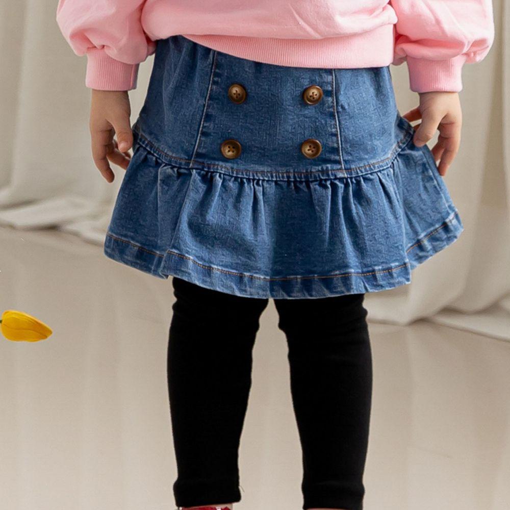 韓國 ERU - 荷葉裙襬銅釦單寧褲裙
