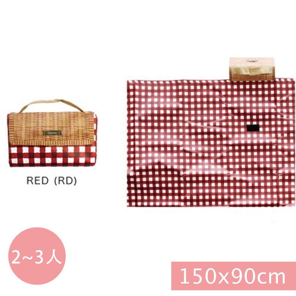 日本現代百貨 - 輕便可收納 防水野餐墊(2-3人)-紅白格子 (150x90cm)