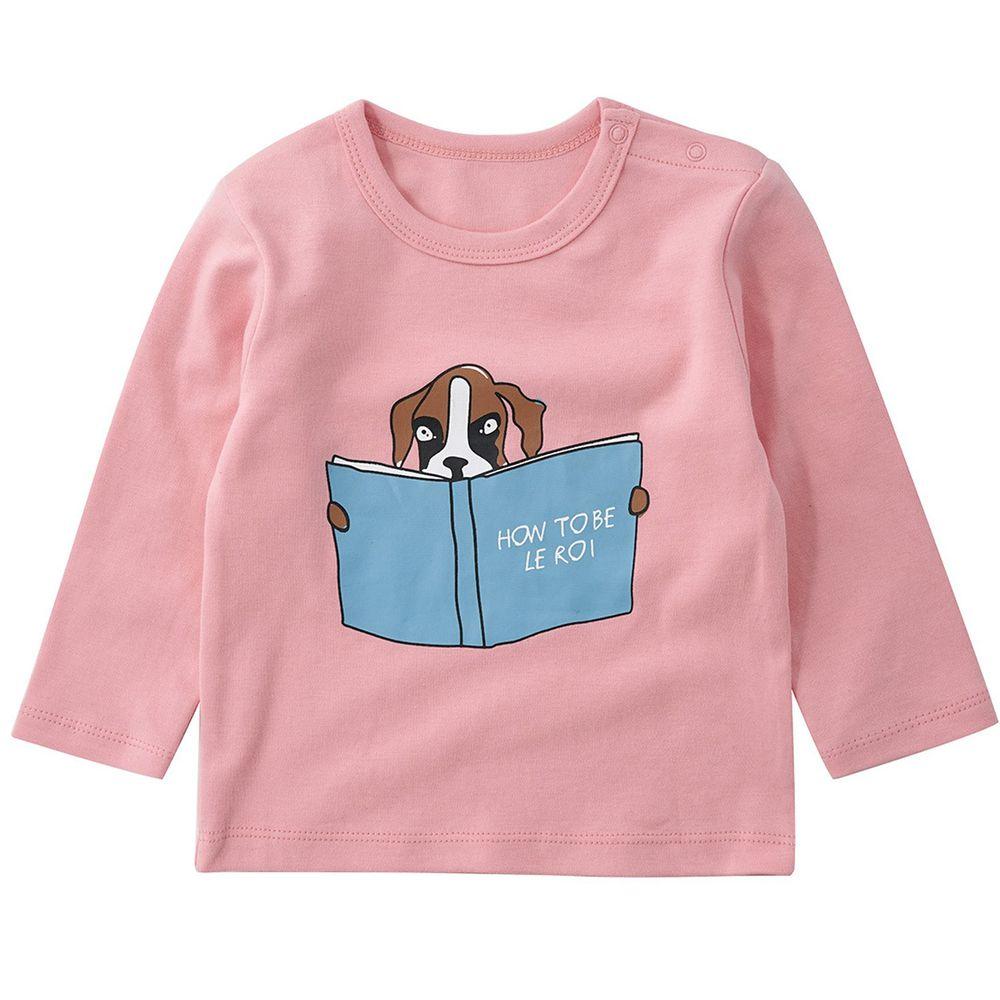 Minizone - 閱讀動物長袖T恤-無肩扣-粉色小狗