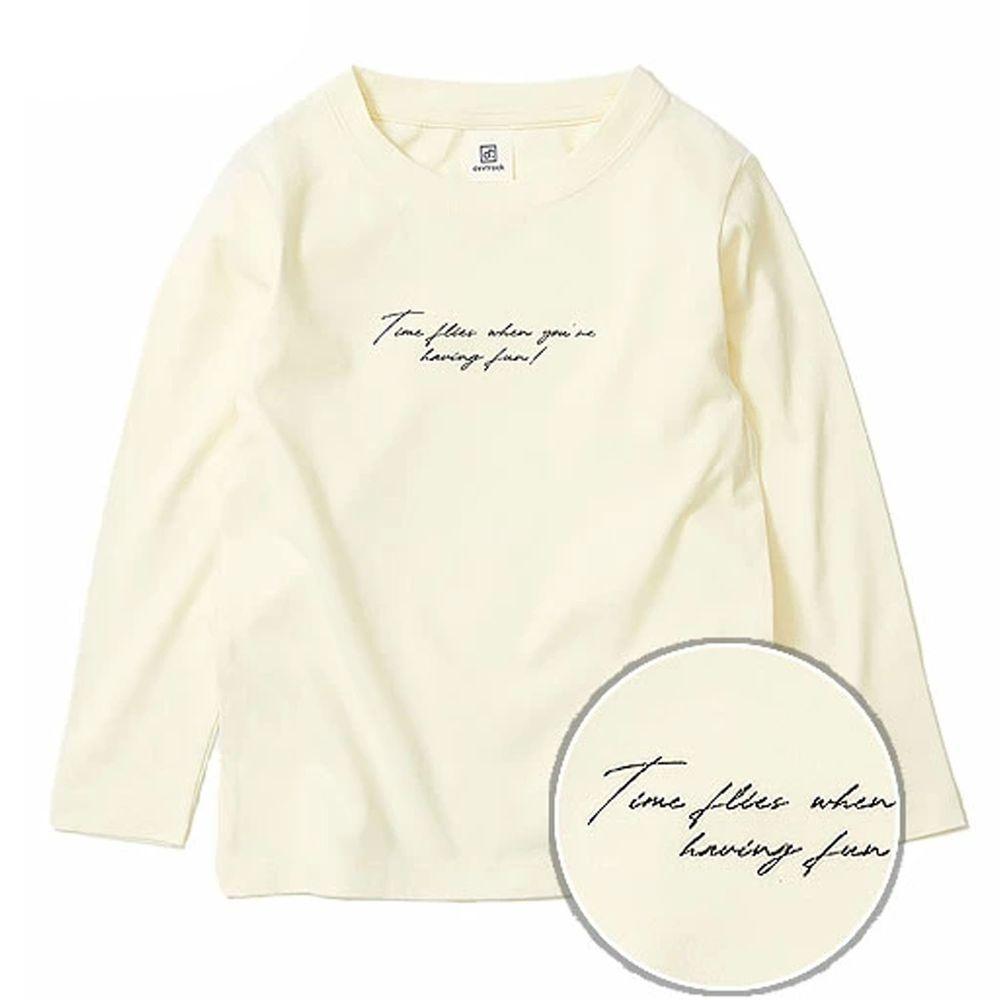 日本 devirock - 純棉 定番百搭印花長T-草寫英文-米白