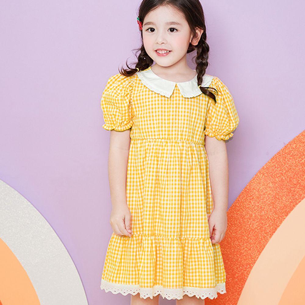 韓國 WALTON kids - (附髮帶)黃格子氣質洋裝
