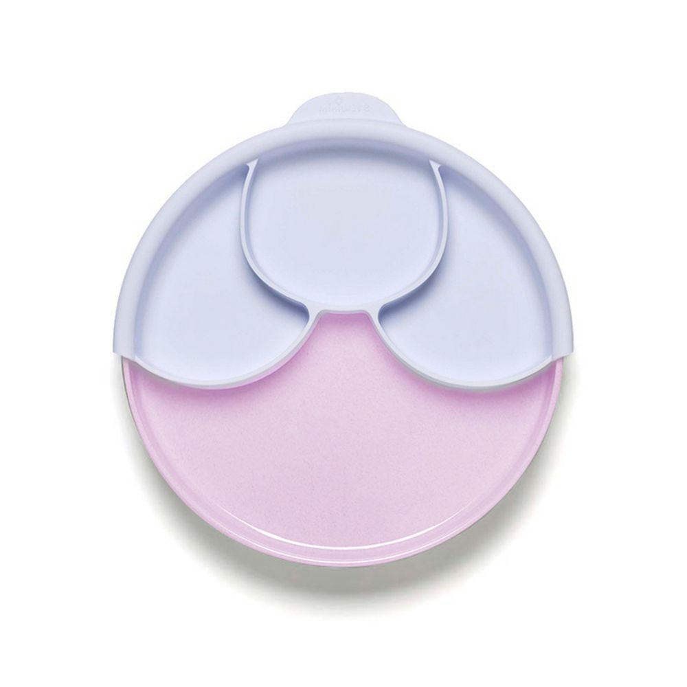 美國Miniware - 微兒天然寶貝用品系列-聰明分隔餐盤組-草莓薰衣草 (媽咪愛限定色)-竹纖維麵包盤*1 矽膠分隔盤*1 矽膠防滑吸盤*1