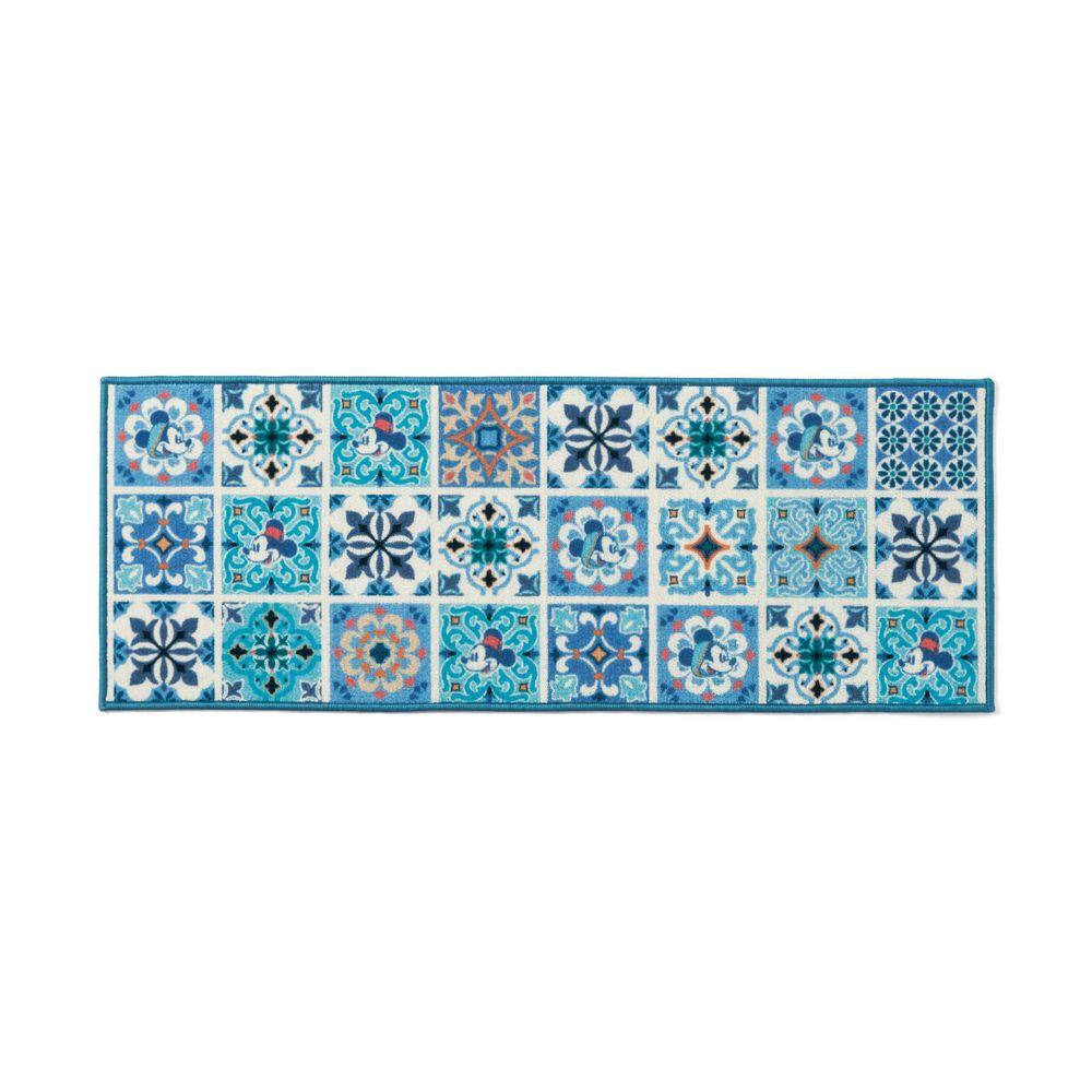 日本千趣會 - 迪士尼 長條型腳踏墊(廚房/臥室)-繽紛磚花-藍色系