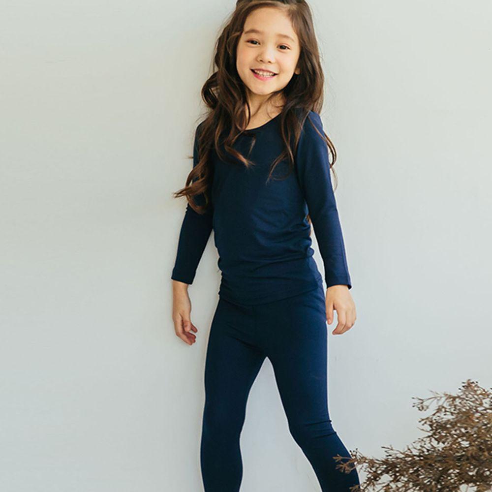 韓國 Puco - 輕盈感保暖衣套裝-深藍