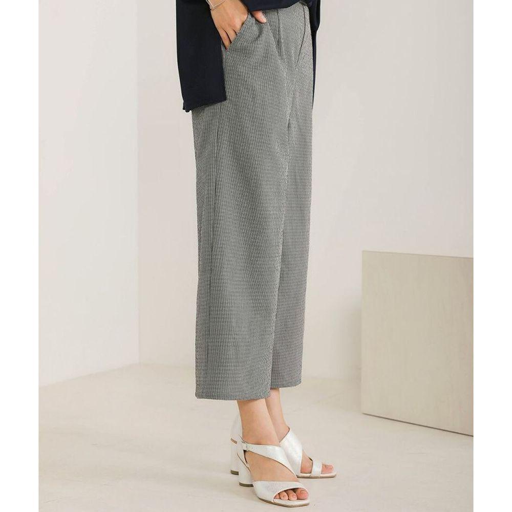 日本 Bou Jeloud - 細格紋美腿修身九分寬褲-黑