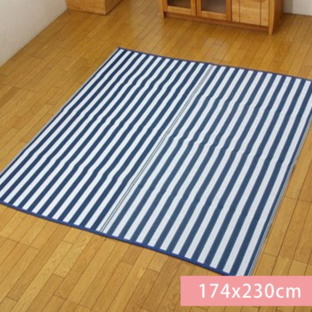 日本池彥 - 過敏協會認證 日本製防蟎蟲野餐墊 / 地毯(4-5人)-藍白條紋 (174x230cm)