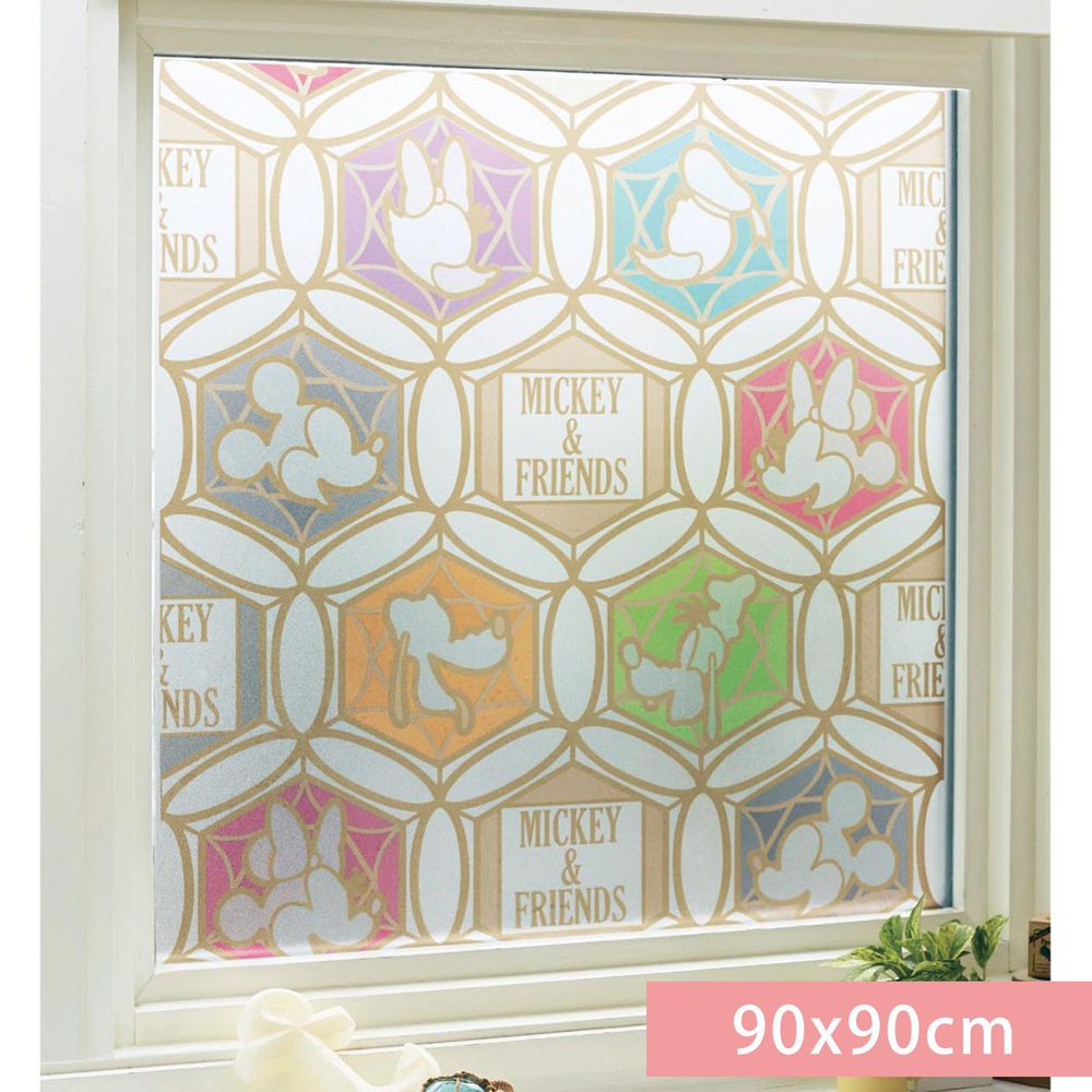 日本千趣會 - 迪士尼 日本製 90%抗UV光影窗貼(靜電式)-米奇與好友們繽紛窗花 (90x90cm)