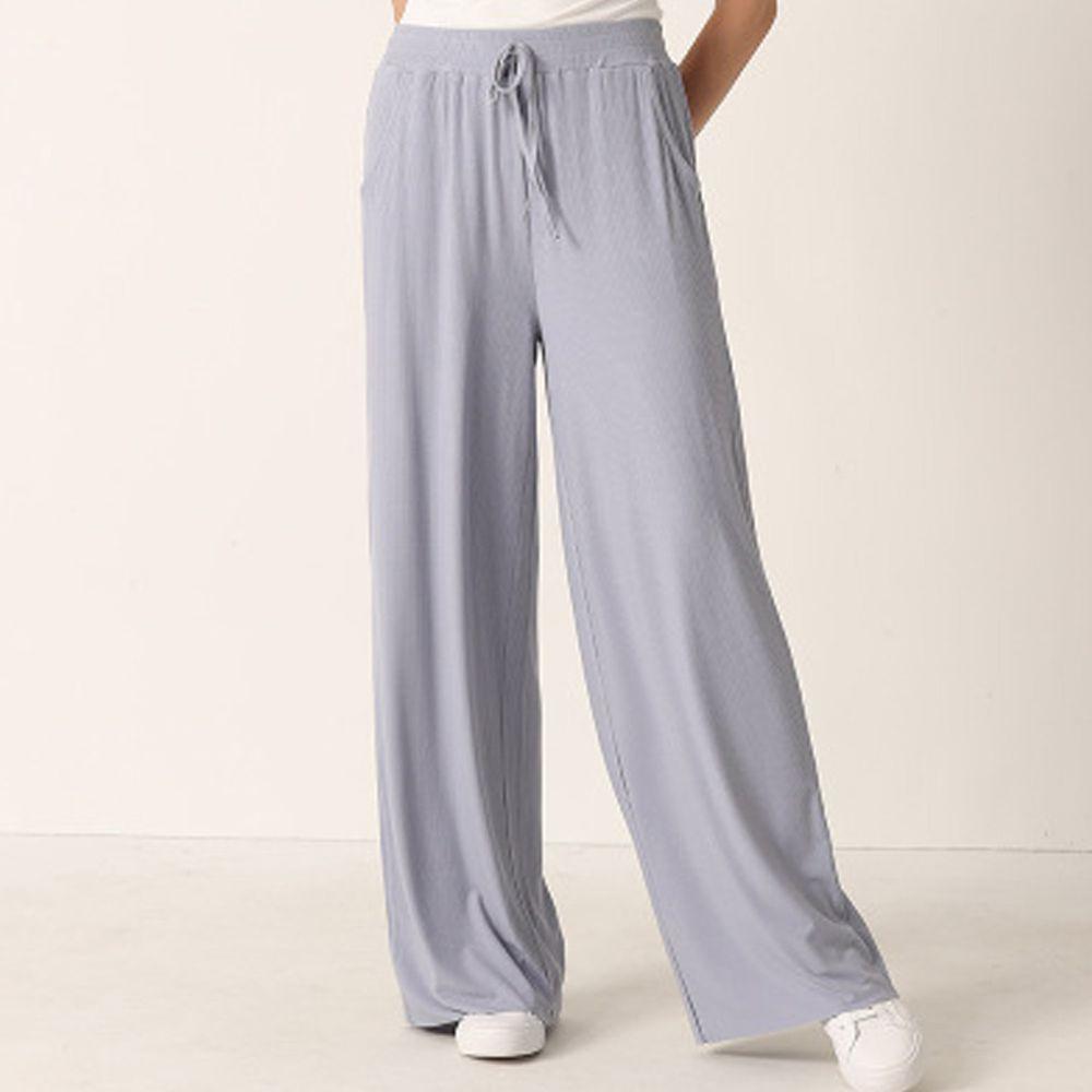 ALWAYS - 涼感舒適坑條休閒寬褲-落地-灰藍色
