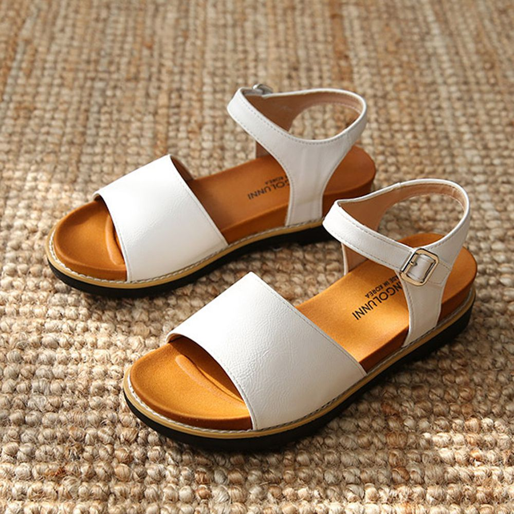 韓國 Dangolunni - 皮革寬面後增高涼鞋(4cm高)-白