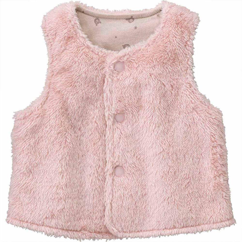 日本 Combi - mini系列-珊瑚绒雙面穿保暖背心-棉花糖粉