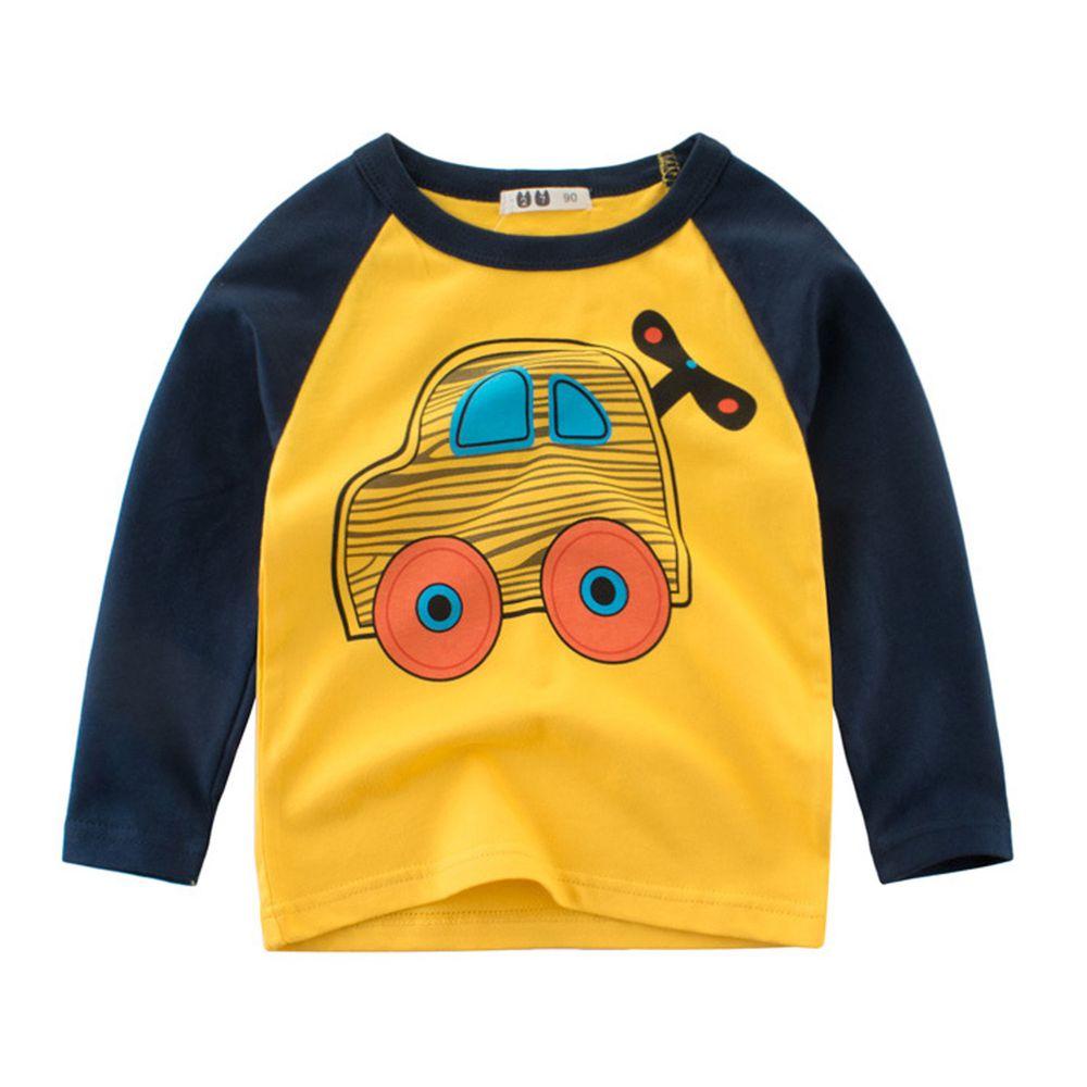 純棉長袖上衣-黃色發條車