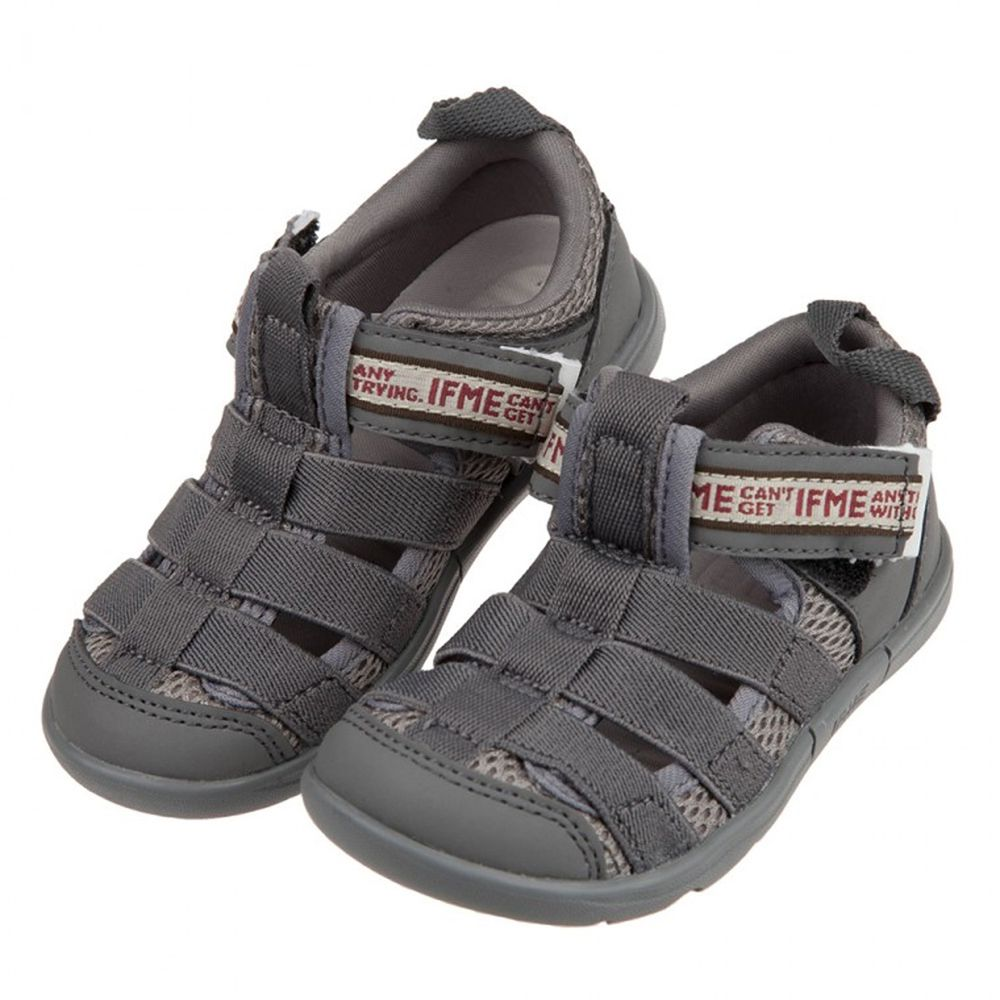 日本IFME - 灰色和風兒童機能水涼鞋