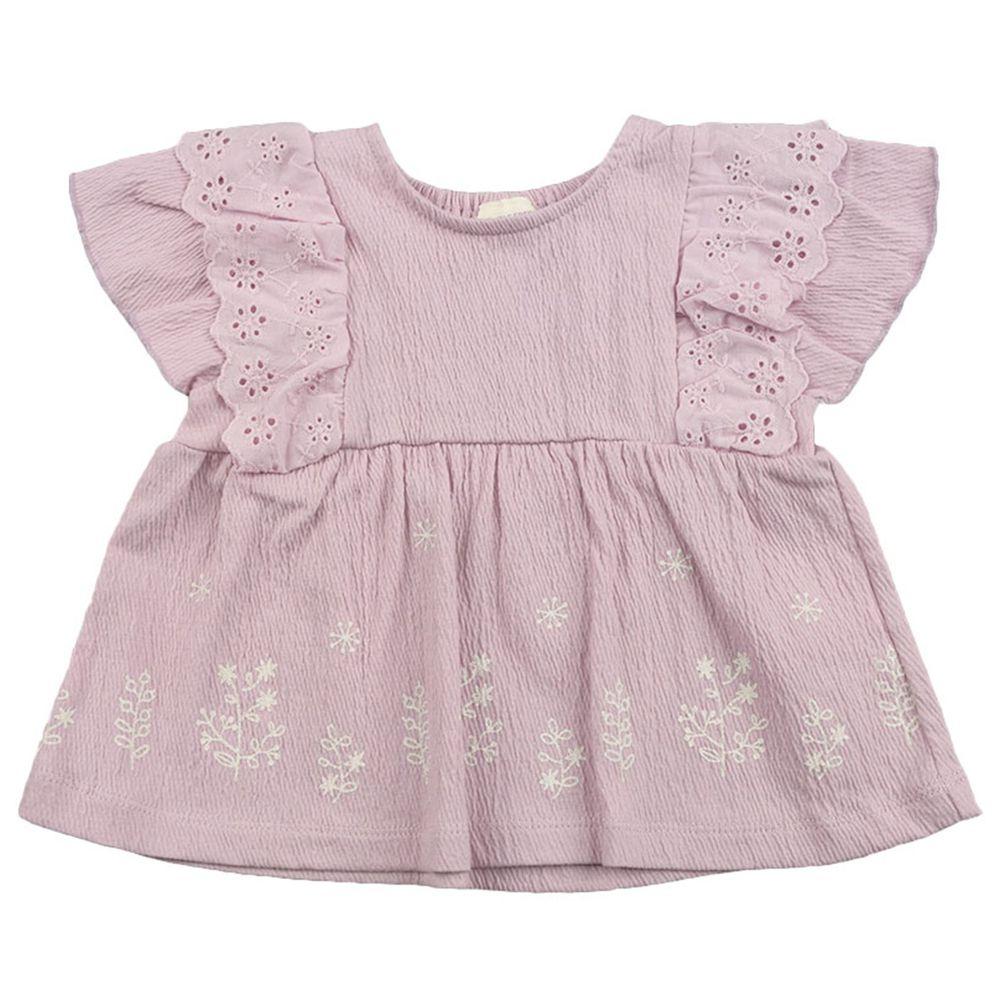 akachan honpo - 短袖T恤-楊柳布-紫色
