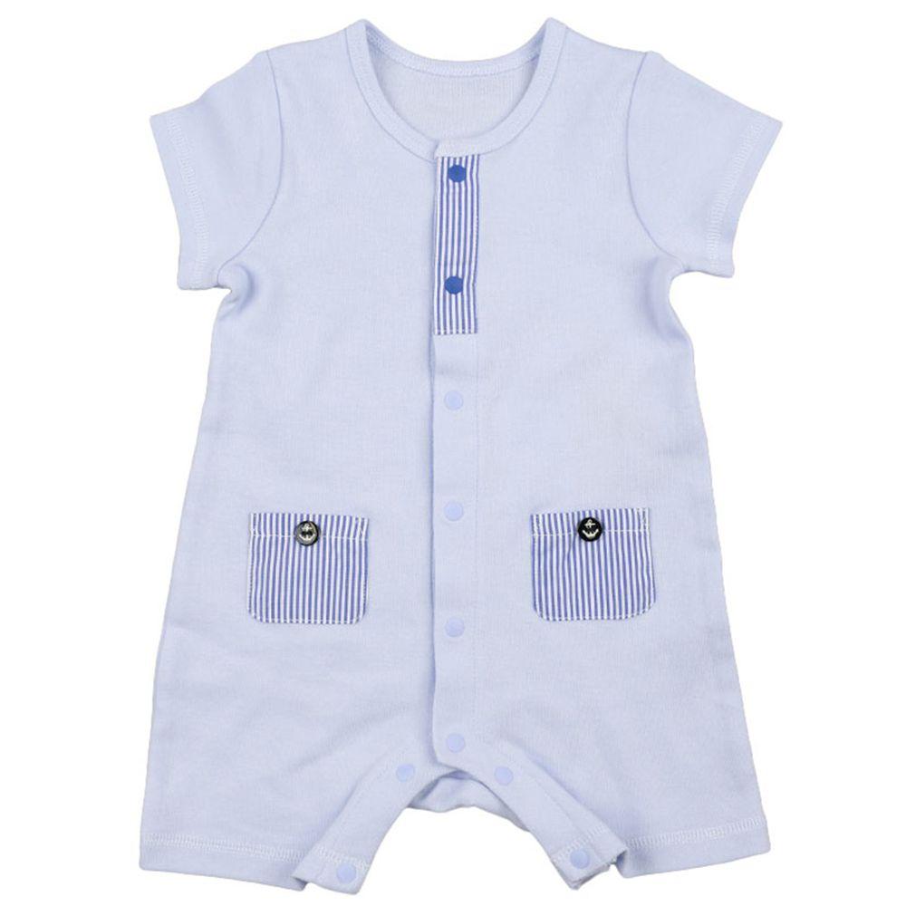 akachan honpo - 男有機棉短袖兔裝-淺藍色