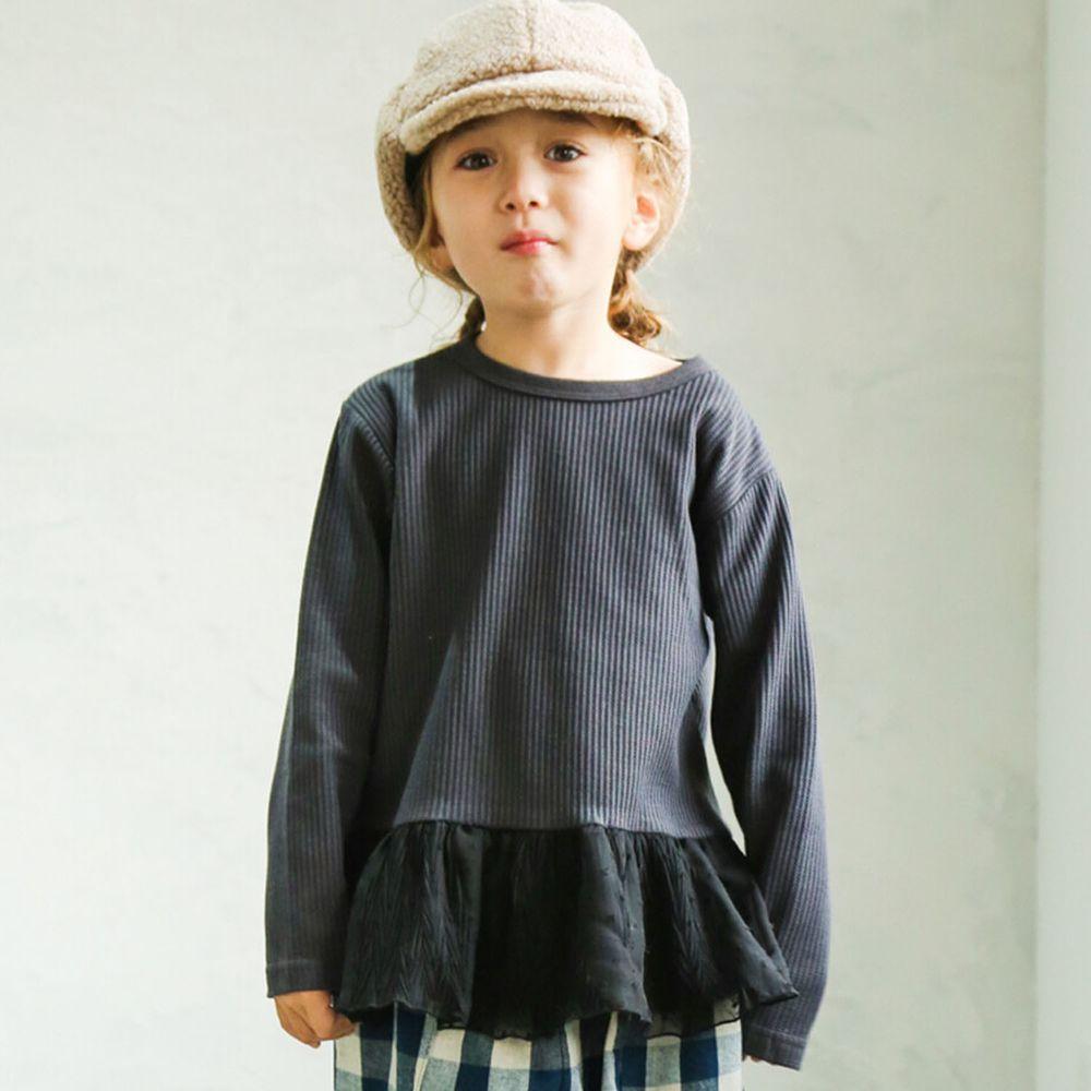 日本 PAIRMANON - 下擺荷葉拼接鬆餅紋長袖上衣-點點薄紗-黑