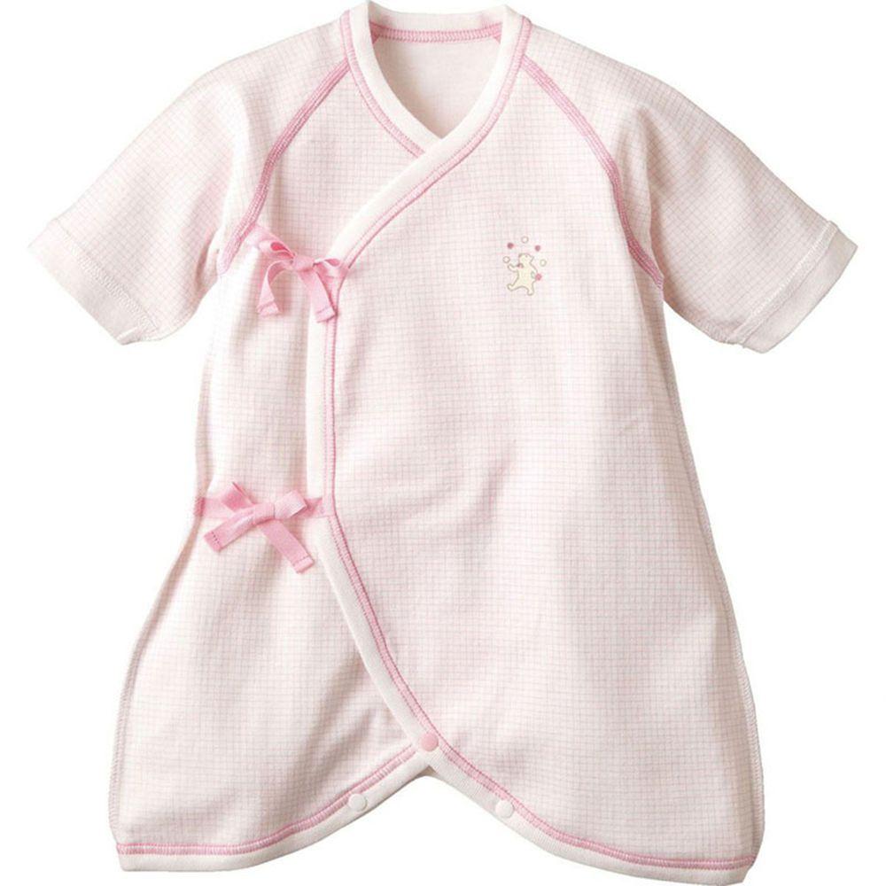 日本 Combi - mini系列-純棉紗布蝴蝶衣-白熊(粉紅格紋) (60-70)