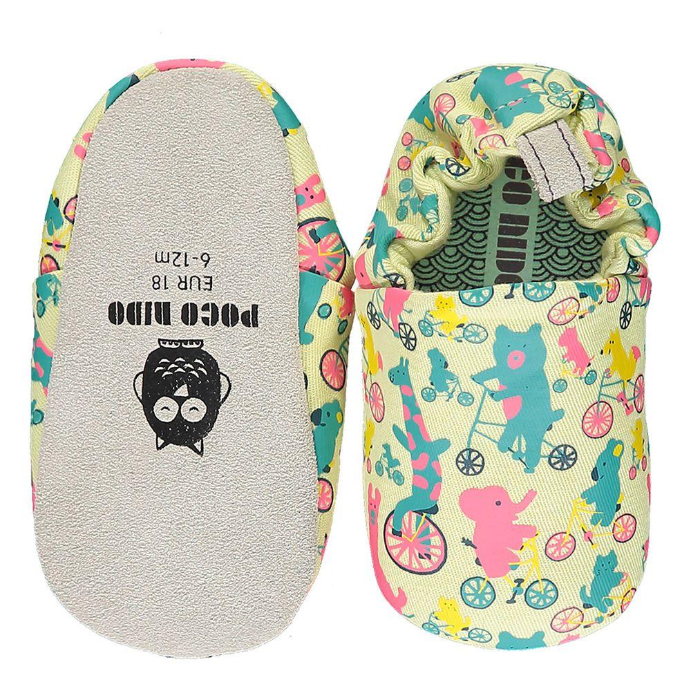英國 Poconido - 寶寶手工鞋/學步鞋-動物騎車趣-檸檬色