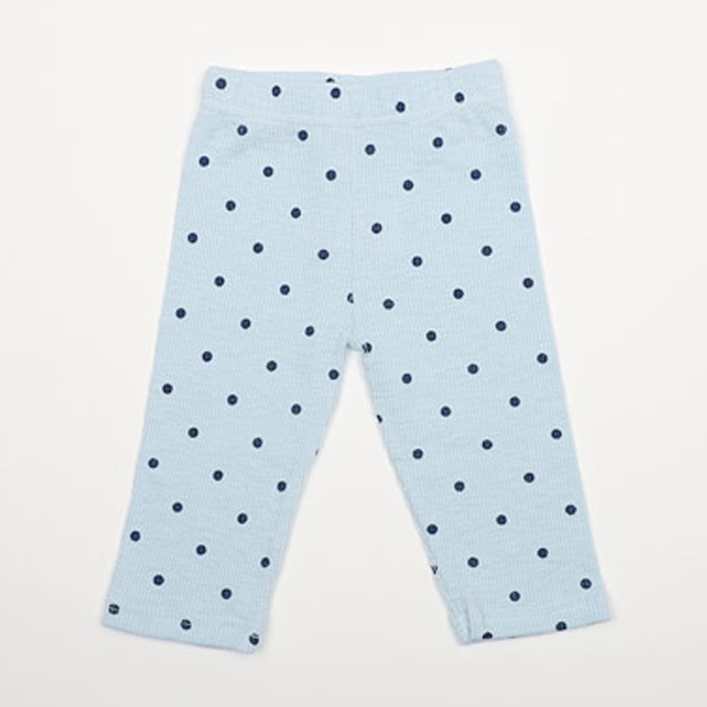 韓國 Rainbowkids - 純棉點點羅紋7分內搭褲-天藍