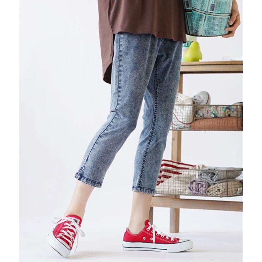 日本 zootie - Air Pants 輕薄彈性修身七分褲-丹寧深藍刷白