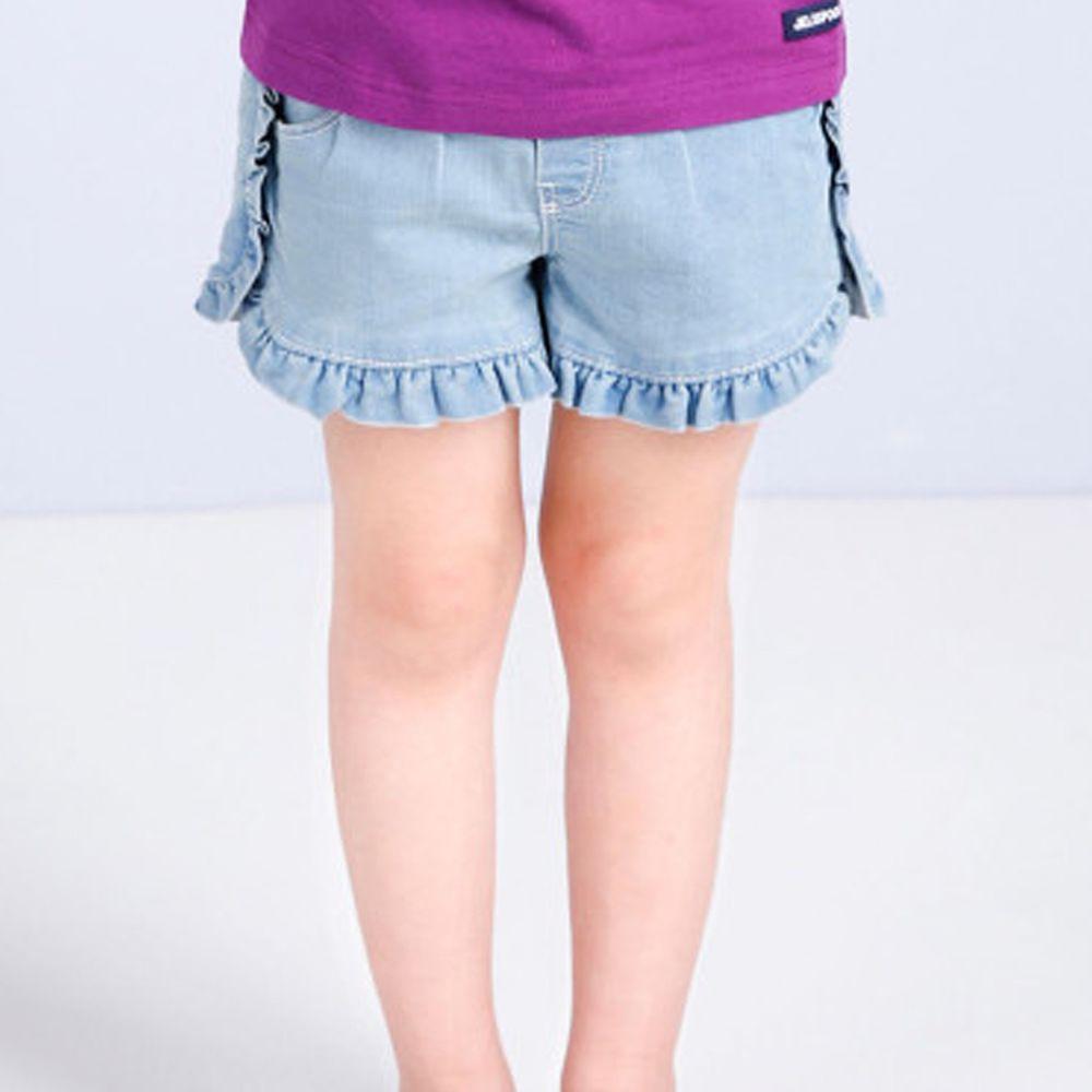 韓國 Jelispoon - 荷葉褲管牛仔短褲