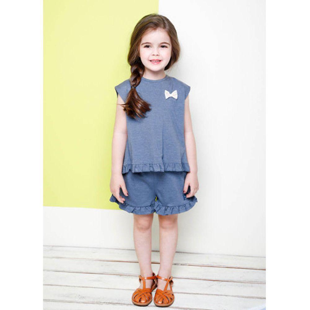 韓國 Jelispoon - 後背荷葉裝飾休閒套裝-灰藍
