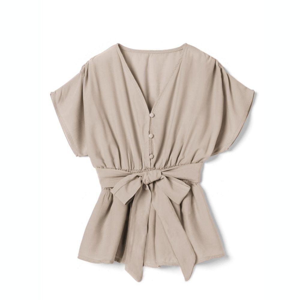 日本 GRL - 交叉V領綁帶短袖上衣-淺米杏