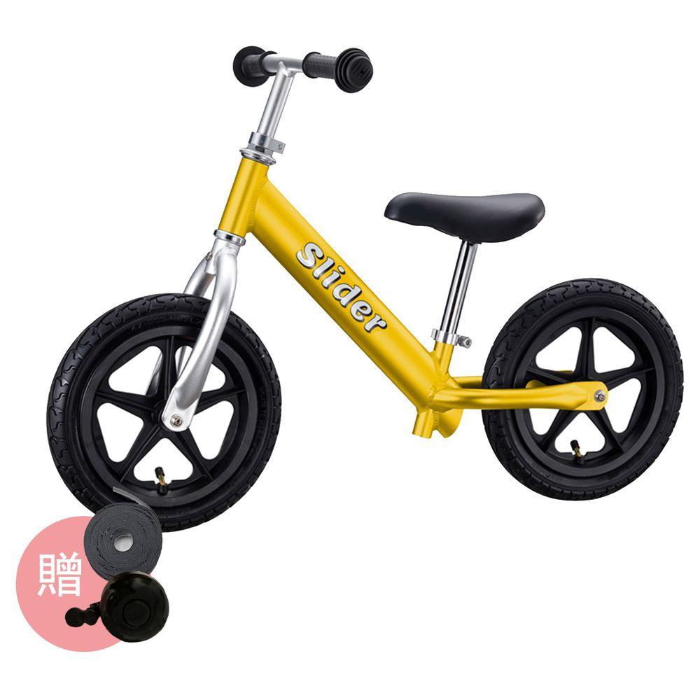 Slider 滑來滑趣 - 輕量鋁合金滑步車-黃色-加送反光輪胎貼+車鈴*1