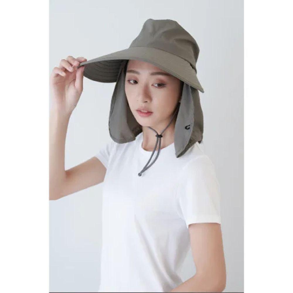 貝柔 Peilou - UPF50+多功能淑女護頸遮陽帽-深灰色 (頭圍:57cm)