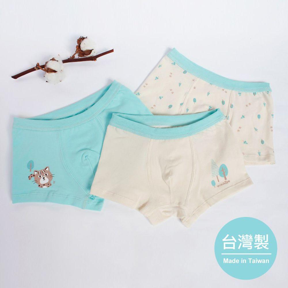minihope美好的親子生活 - 森林與石虎男童四角褲組-石虎、森林、滿版小樹