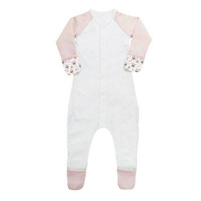 有機棉包腳睡衣-企鵝-粉色