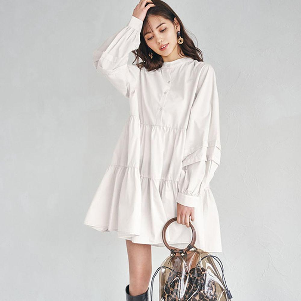 日本 GRL - 前後2way層次感蛋糕長袖洋裝-白