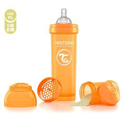 時尚彩虹奶瓶-附奶嘴頭-太陽橘 (S [2個月起])-180ml