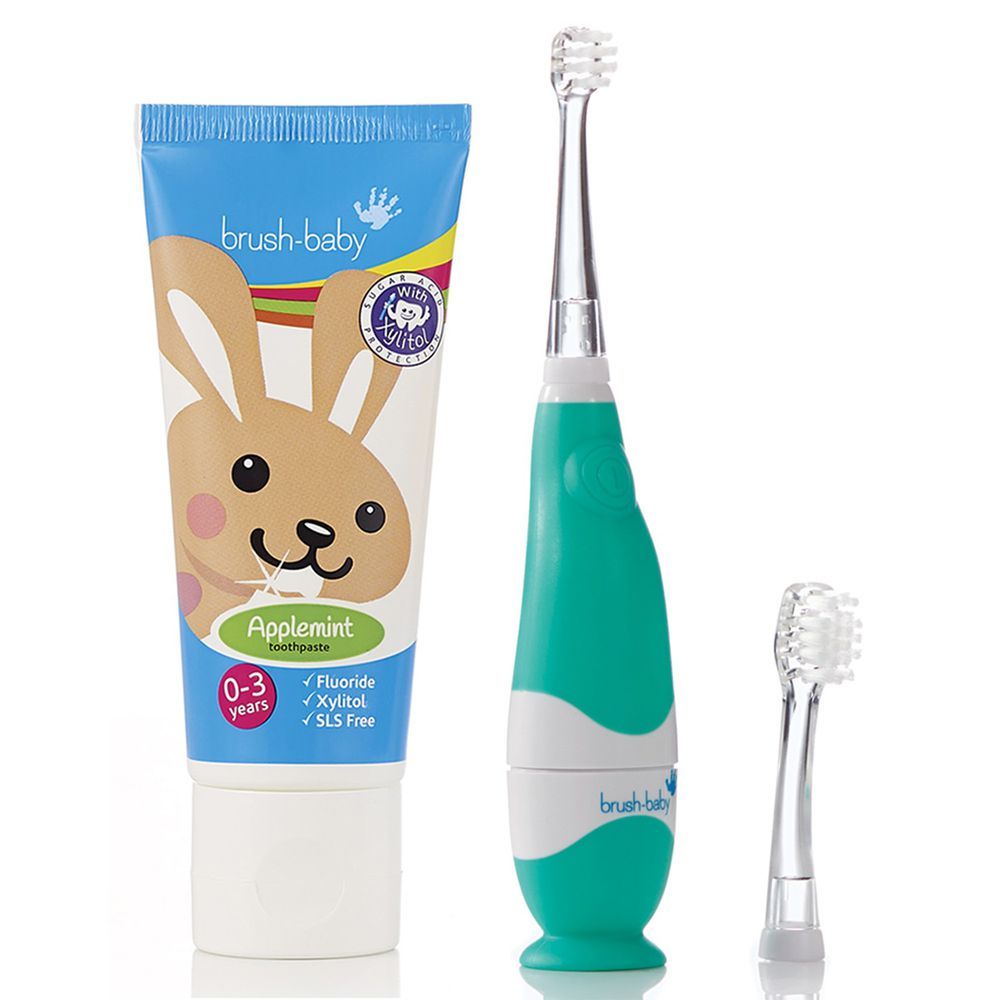 英國 brush-baby - 嬰幼兒聲波電動牙刷+貝寶兔木糖醇牙膏(50ml)(0-18M)-含氟量 1000ppm