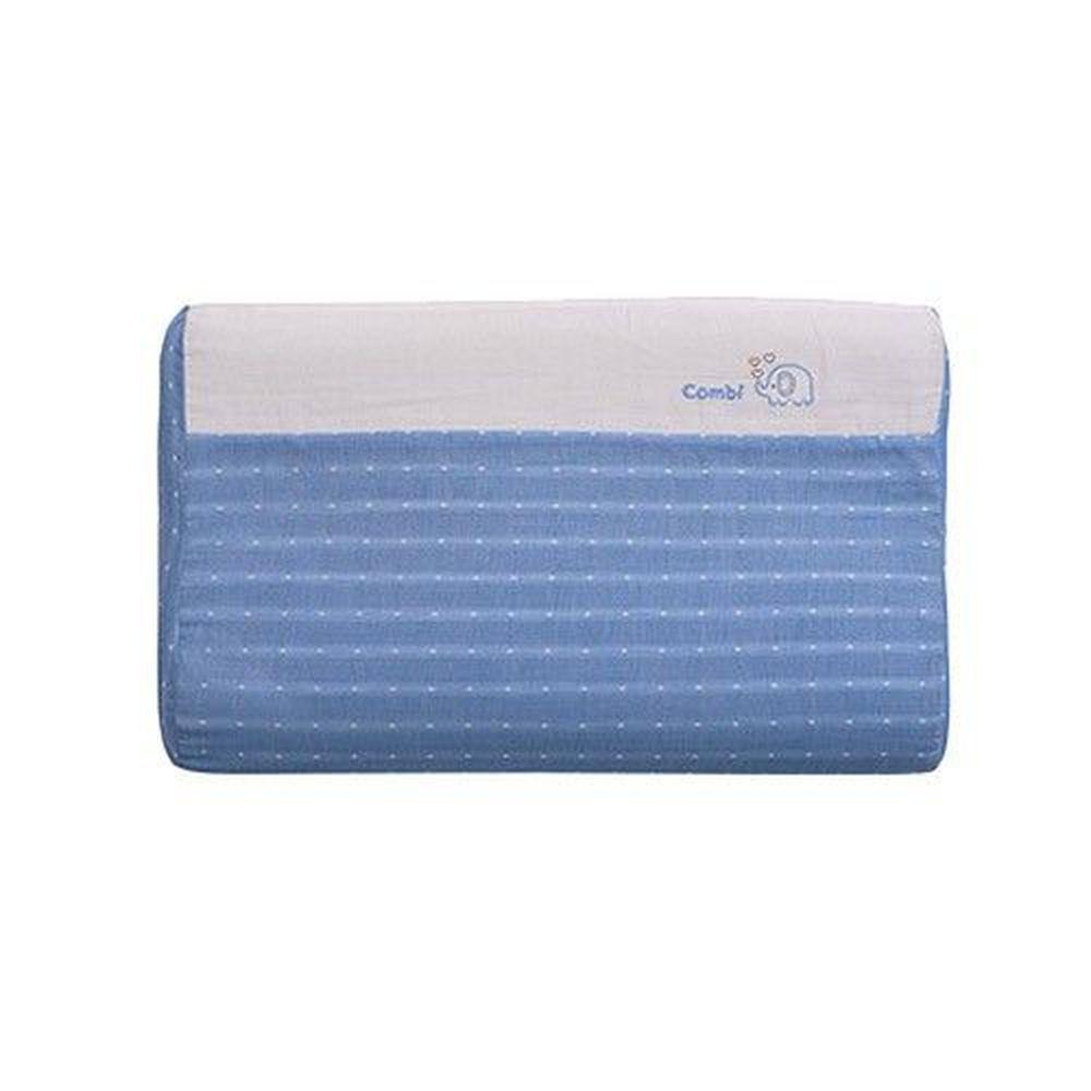 日本 Combi - 和風紗輕柔感透氣兒童護頸枕-枕心可水洗系列-藍色 (46.5x27.5x5.5-7.5cm)-6個月起
