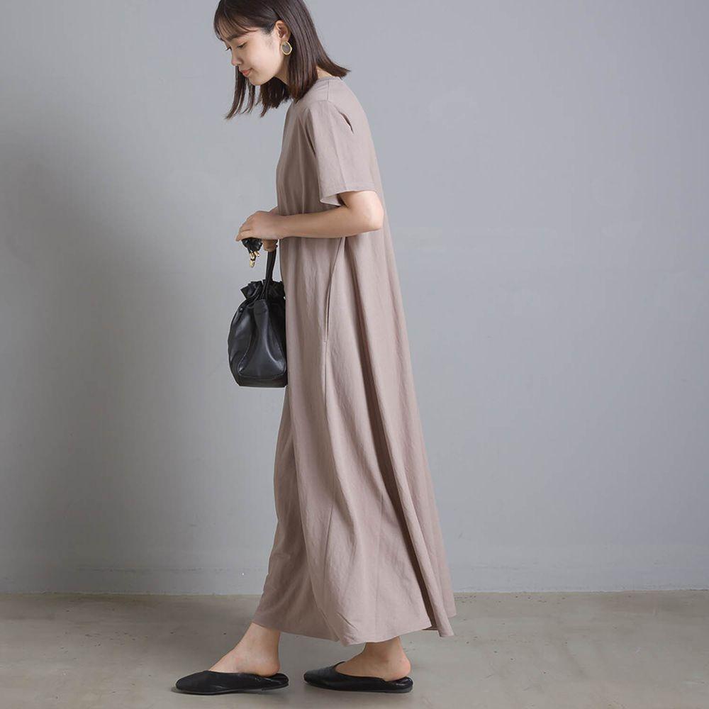 日本 OMNES - 接觸冷感 短袖洋裝-灰杏