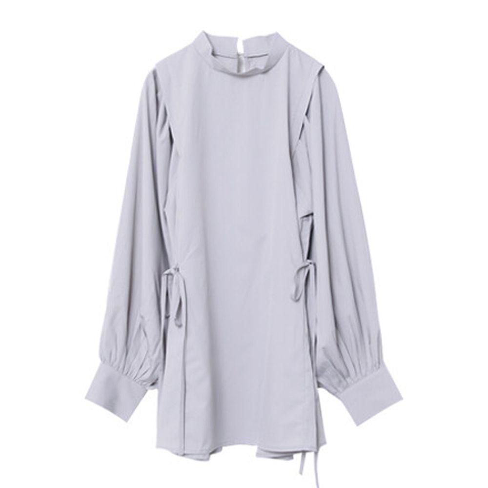 日本女裝代購 - 小高領抓皺燈籠袖長袖上衣-灰 (M(Free size))