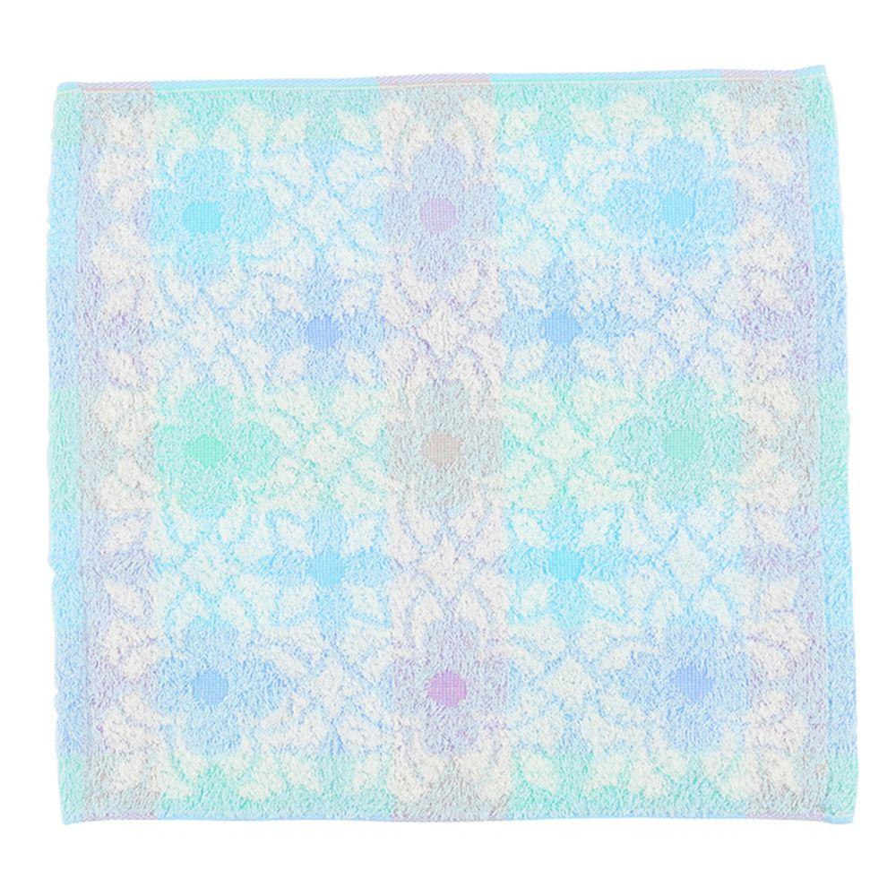 akachan honpo - 今治方巾-花紋-藍色 (34×35cm)