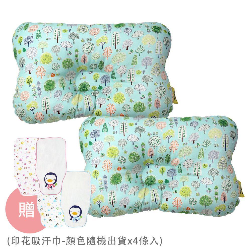 PUKU 藍色企鵝 - Breeze 透氣雲朵枕/護頭枕-2 入組-森林公園x2-買贈印花吸汗巾-顏色隨機出貨x4條入