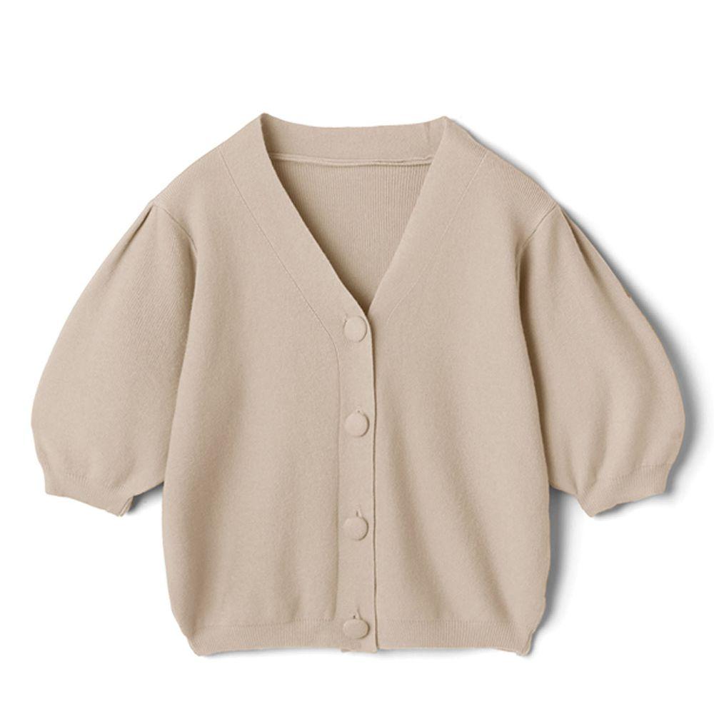 日本 GRL - 復古大圓釦V領五分袖針織上衣-氣質杏