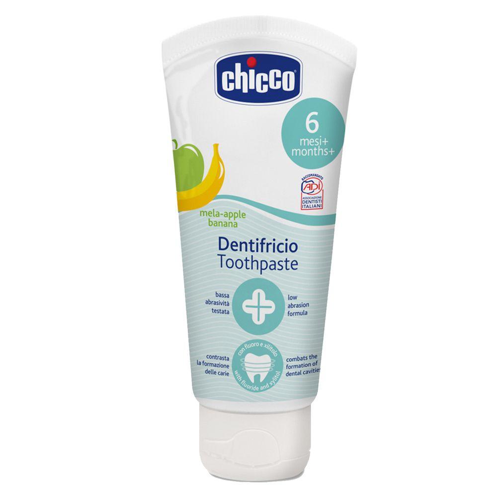 義大利 chicco - 兒童木醣醇含氟牙膏(一歲以上)-蘋果香蕉-50ml