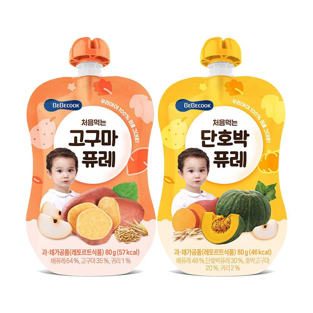 BEBECOOK 寶膳 - 嬰幼兒綿綿果泥2入組(6M以上) - 雪梨南瓜泥+雪梨番薯泥