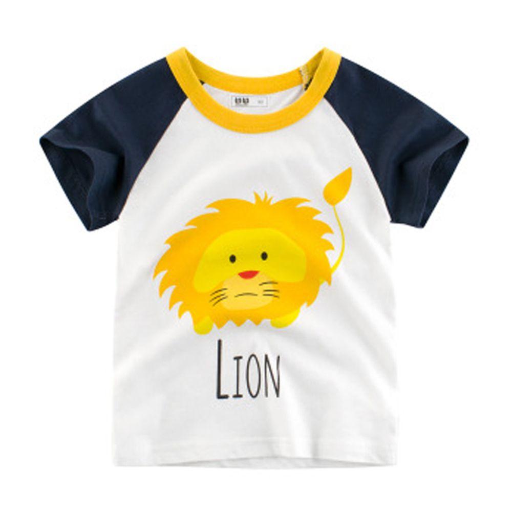 短袖棉T-獅子-藍色