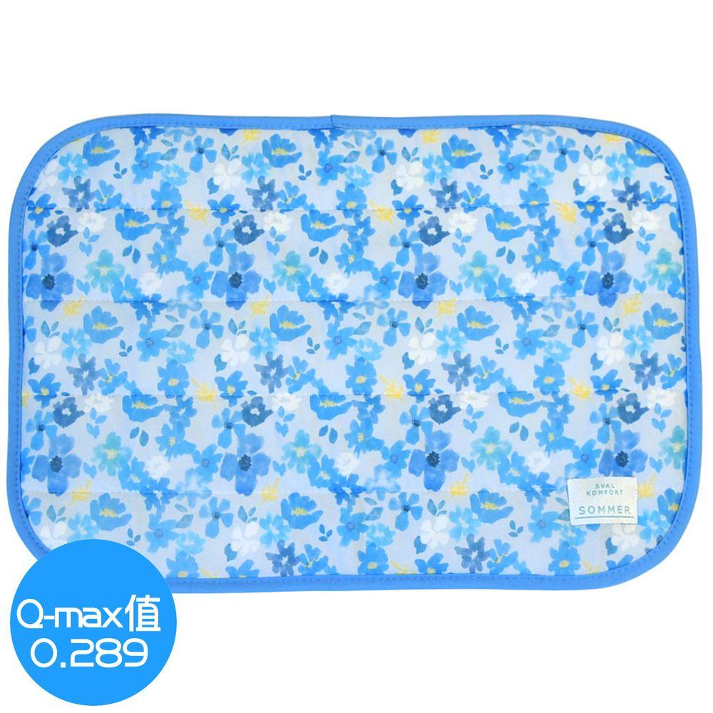 日本 DAIKAI - 接觸涼感枕頭套-百花齊放-水藍 (50x37cm)