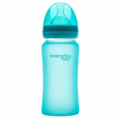 MilkHero 寬口徑防護感溫變色玻璃奶瓶-海洋藍 (240ml)-230g